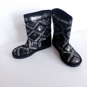 Justice Black & Silver Sequin Girl's Boots Sz 2